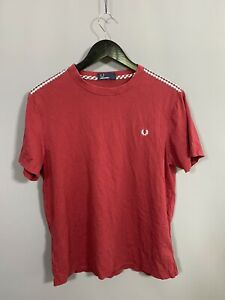 FRED-PERRY-T-Shirt-Size-L-Red-Great-Condition-Men-s