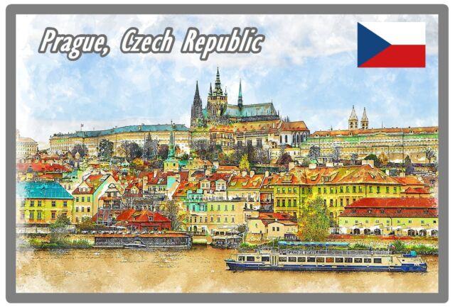 PRAGUE, CZECH REPUBLIC - SOUVENIR NOVELTY FRIDGE MAGNET - FLAG / SIGHTS / GIFTS