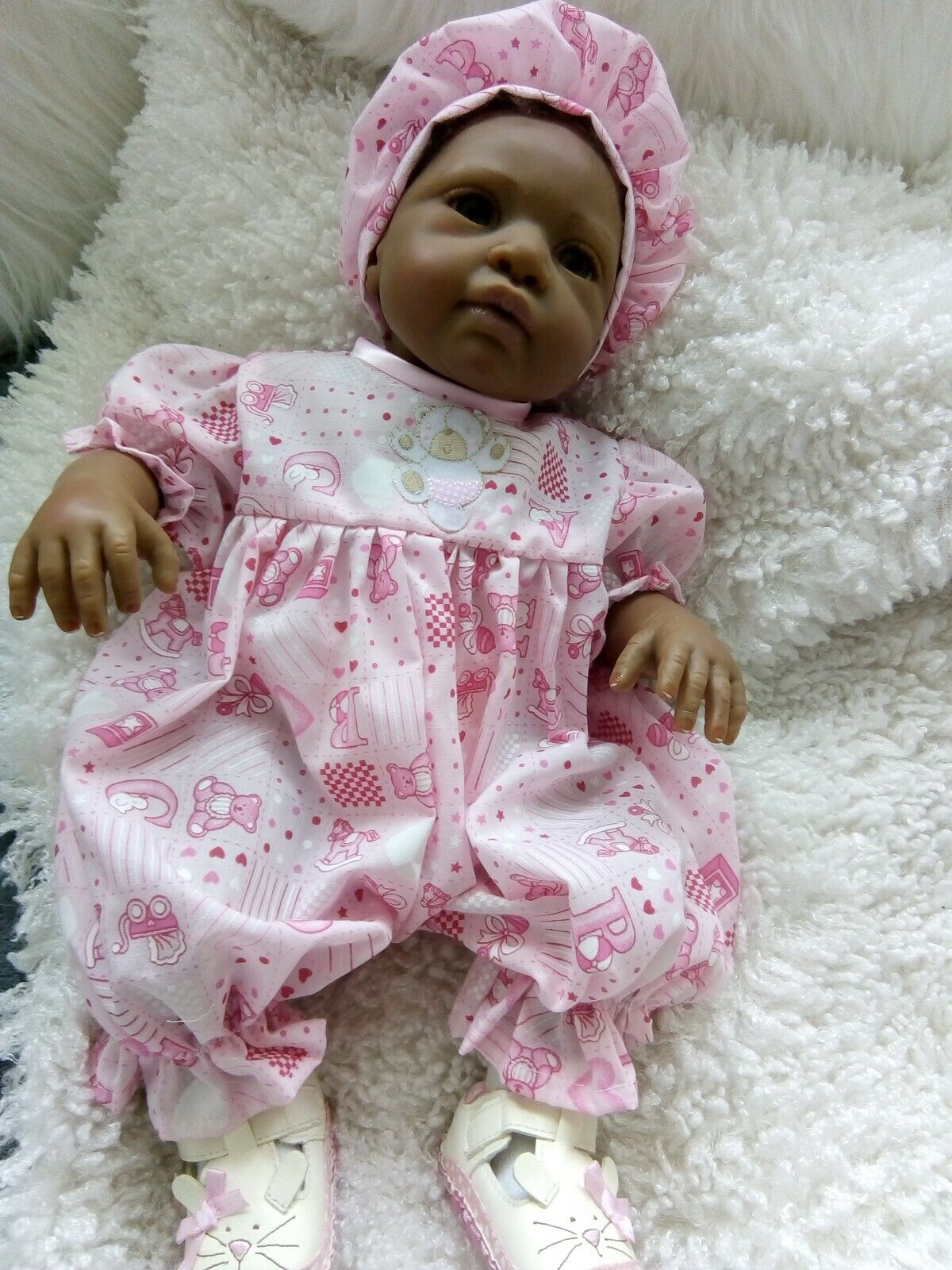 """Handmade clothes Romper and hat set-Pink ABC fabric 18"""" reborn 0-3mths"""