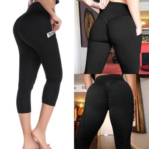 Women/'s Capri Yoga Leggings Pants Cropped Sports Gym Fitness Workout Trousers O