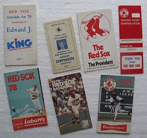 (7) Vintage 1970's Boston Red Sox Pocket Schedules