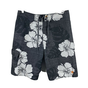 Quiksilver-Mens-Board-Shorts-Size-32-Swim-Shorts-Grey-Floral-Good-Condition