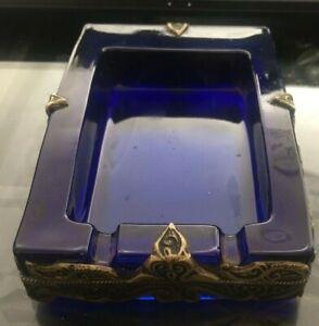Vintage-Vide-Poche-Ancien-En-Verre-Murano-Bleu-Et-En-Bronze-Antique-Art-Deco-XXe
