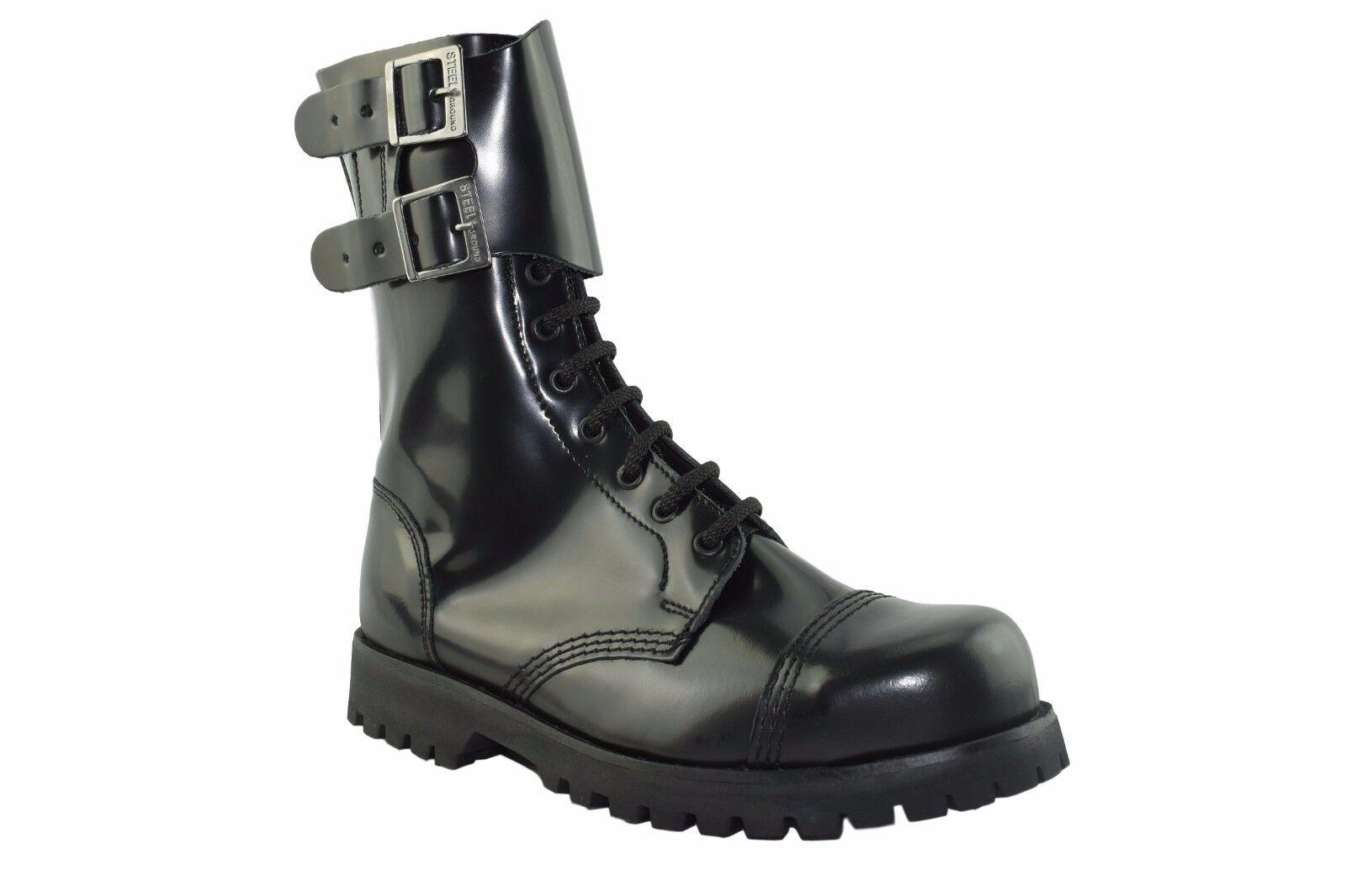 Tierra De Acero Cuero Negro botas De Combate 10 Ojal 2 Correas Hebilla St129Z178 Rock