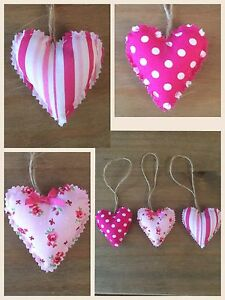 Swell Details About Set Of 3 Handmade Fabric Shabby Chic Hanging Hearts Padded Hearts Home Interior And Landscaping Ponolsignezvosmurscom