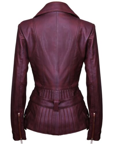 Ladies Brown Long Feminine Soft Genuine Leather Biker Trench Jacket