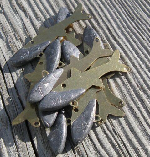 Plomb pondérée laiton fourrage minnows bricolage Tackle-Lot de 20 Taille Moyenne non peinte
