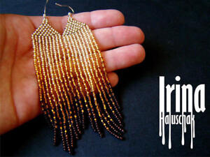 Image Is Loading Grant Gold Beaded Earrings Seed Bead