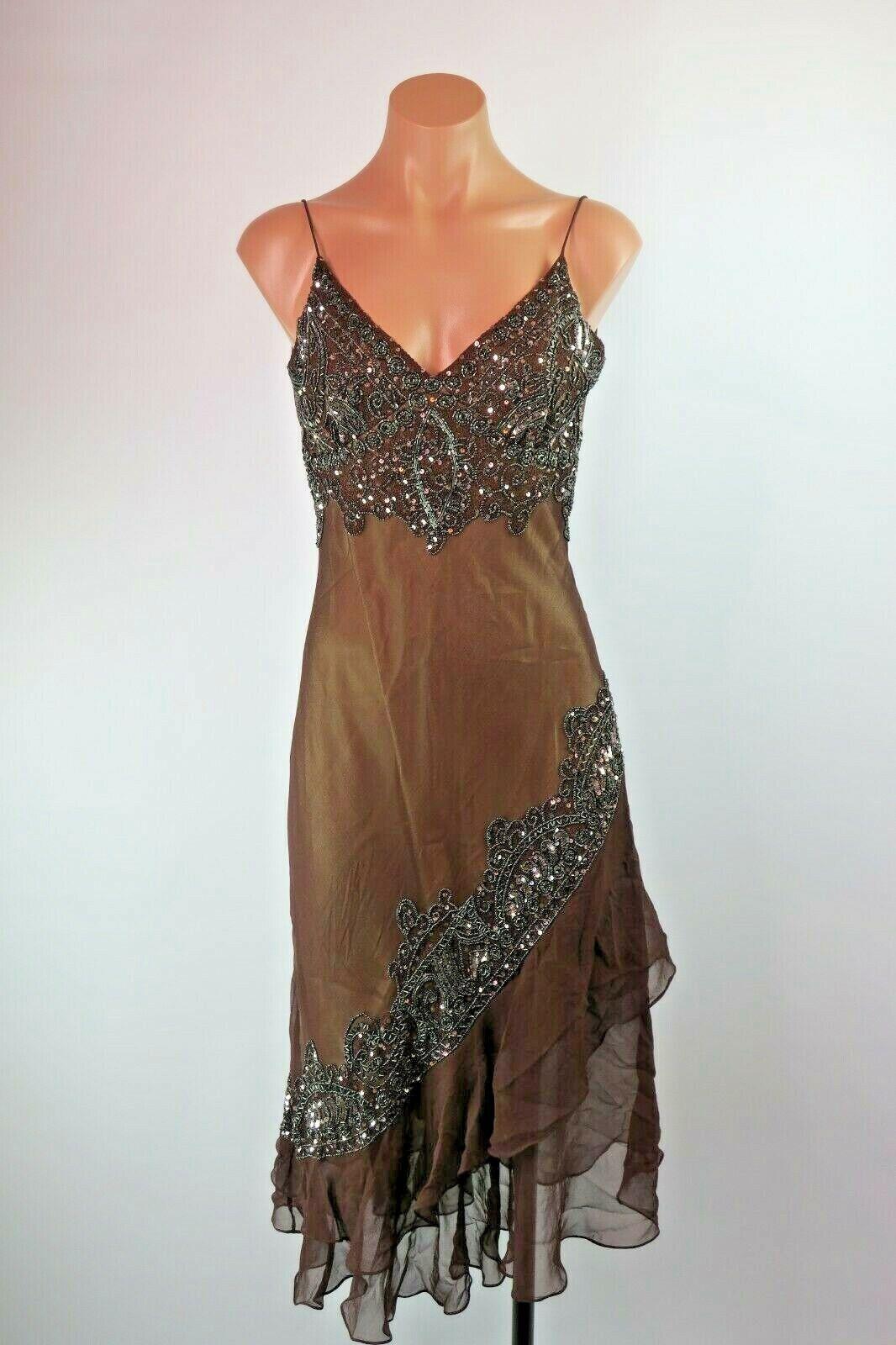 Adrianna Papell 6 Silk braun Sequin Beaded Asymmetrical Evening Prom Gown Dress