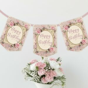 Image Is Loading Shabby Chic Pink Happy Birthday Bunting Tea Party