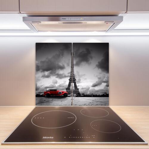 2x30x52 cm Herd-Abdeckplatte Glas Ceranfeld-Abdeckung Deko Eiffelturm Rot