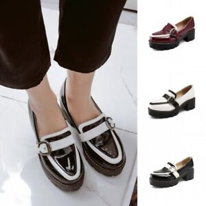 Womens-Block-Mid-Heels-Patent-leather-Platform-Shoes-Casual-Oxford-Slip-On-Pumps