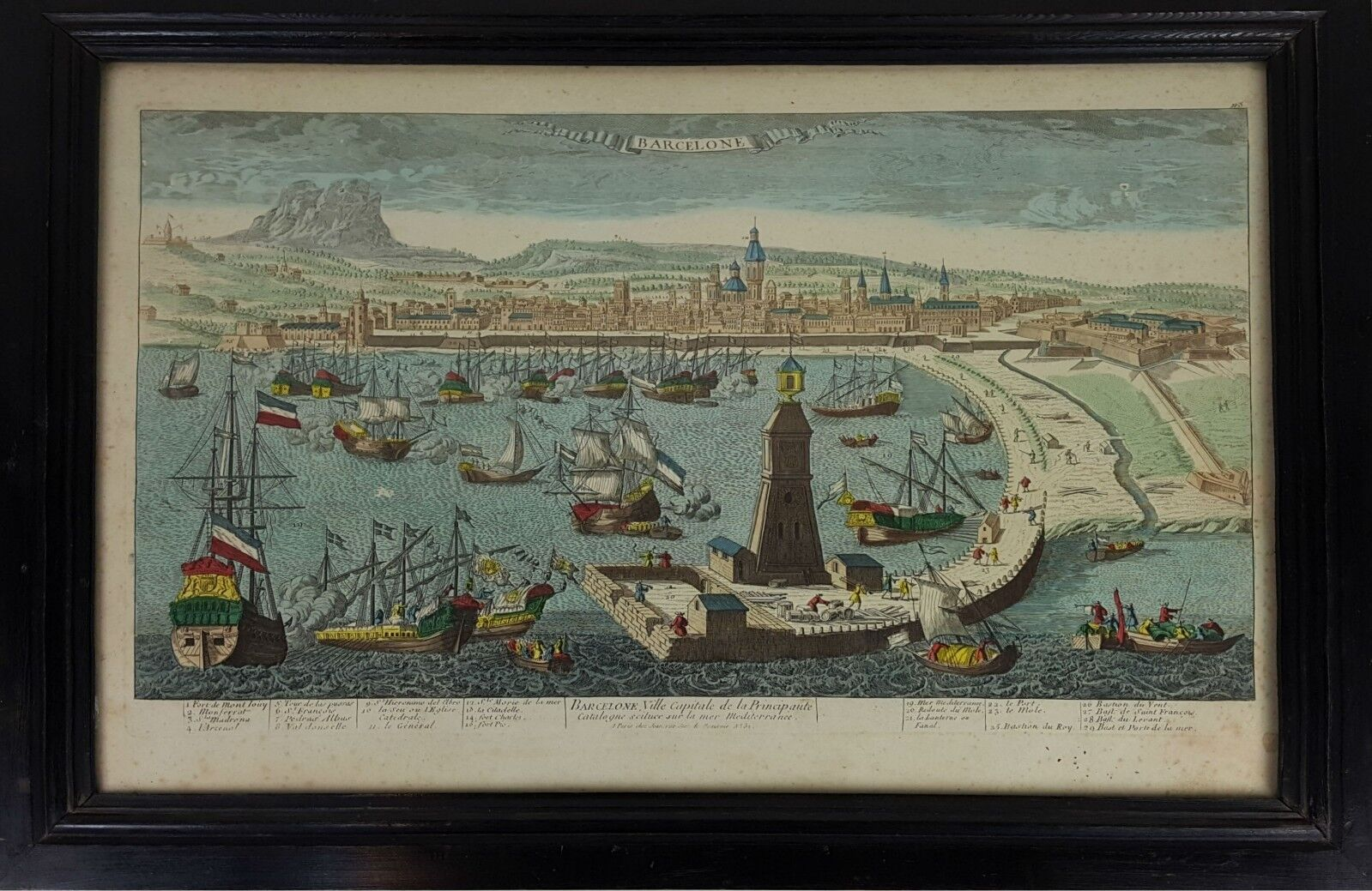 PORT OF BARCELONA CITY. COLORED ENGRAVING ON PAPER. 18TH-19TH CENTURY.