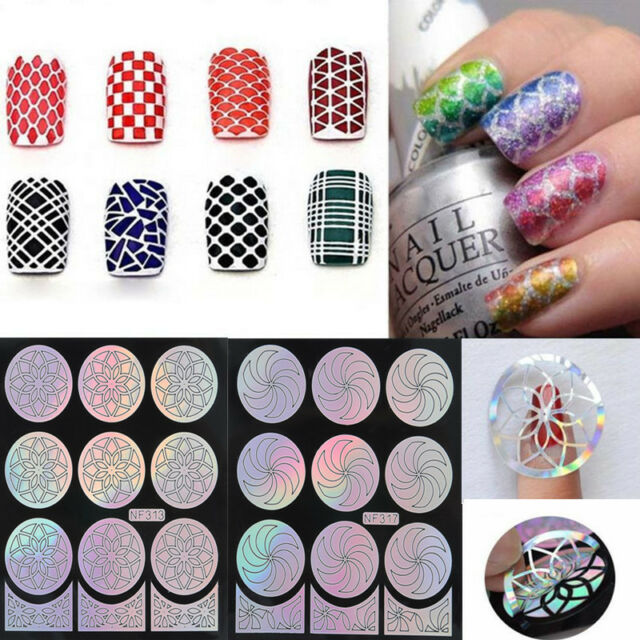1 Sheet Nail Art Manicure Flower Stencil Stickers Stamping Vinyls Easy Use DIY