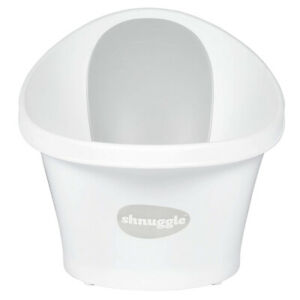 SHNUGGLE WHITE BABY BATH TUB W/ BACKREST & BUM BUMP SUPPORT & PLUG