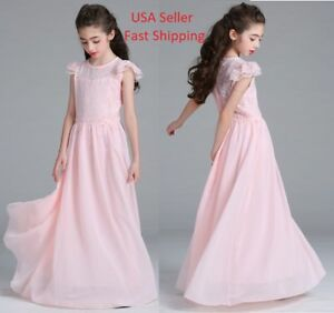 2018-Beautiful-Girls-Flower-Wedding-Long-Maxi-Dress-Kids-Princess-Bridesmaid-O83