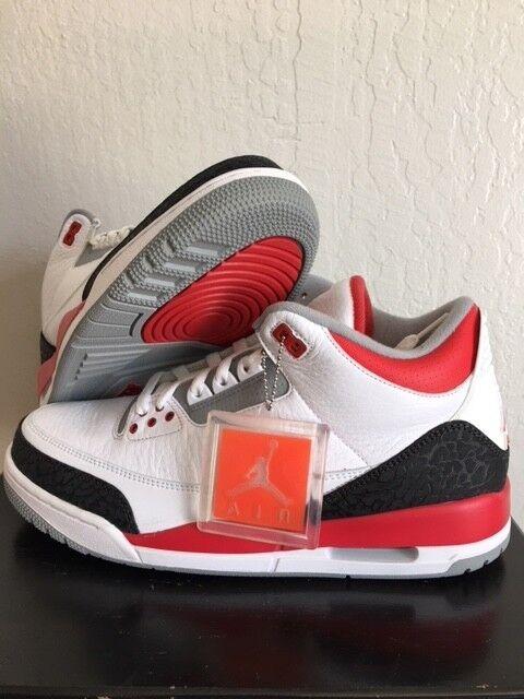 Nike air jordan iii 3 fuoco bianco rosso - nero 2013 retrò dimensione originale tinker - 11