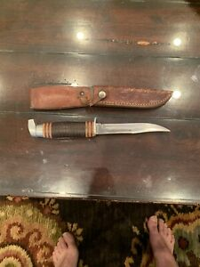 Vintage-Q-STEEL-Fixed-Blade-HUNTING-KNIFE-With-Original-Sheath