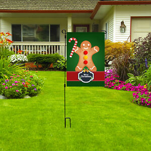 "Merry Christmas Gingerbread Man Garden Flag 12""x18"" Holiday Outdoor Yard Decor"