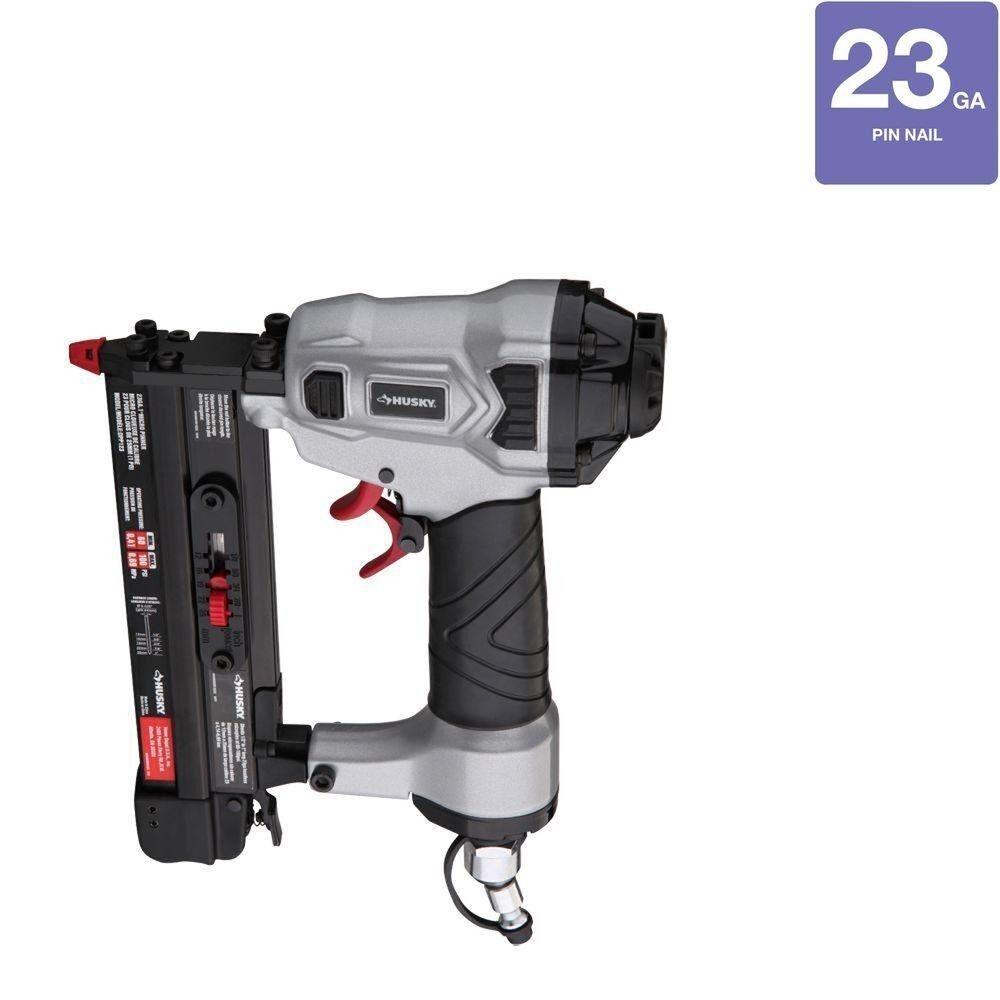 Husky Headless Pin Nailer 23-Gauge Pneumatic Air Nail Pinner Gun Lightweight