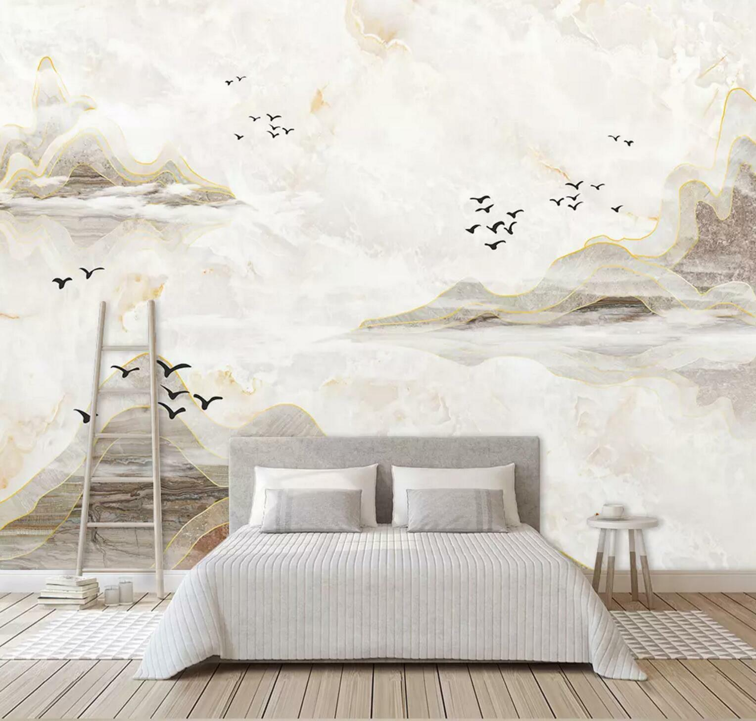3D Mountain Birds 67 Wall Paper Exclusive MXY Wallpaper Mural Decal Indoor wall