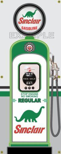 SINCLAIR REGULAR GAS PUMP VINTAGE OLD GAS STATION BANNER GARAGE SIGN ART 2/' X 5/'