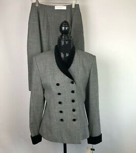 Valerie-Stevens-Women-Suit-Size-8-Skirt-Blazer-Suit-Black-Wool-White-Vintage-NWT