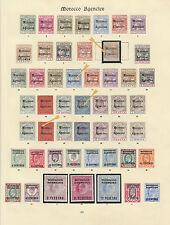 Agencias de Marruecos 1898-1907 QV y KEVII Colección de menta fresca en dos páginas,