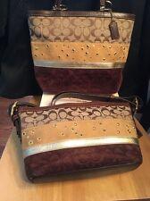 Coach Stripe Patchwork Brown Gold Suede Duffle 13075 Tote +13078 Bag SET EUC!