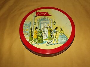 VINTAGE-SWERSEY-039-S-OLD-ENGLISH-SCENE-9-3-4-034-ACROSS-COOKIE-TIN