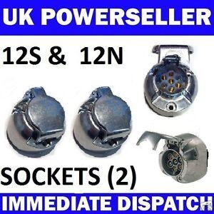 2-x-7-PIN-METAL-ALLOY-SOCKETS-12N-amp-12S-Towbar-Towing-Electrics-caravan-trailer