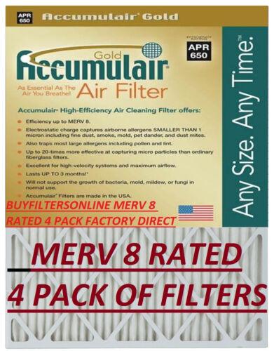 4 MEDIUM SIZE ACCUMULAIR GOLD MERV 8 HOME FURNACE AIR FILTERS PLEATED ALLERGEN