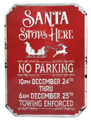 """METAL /""""Santa s/'arrête ici aucun Parking/"""" Hanging Wall Signe Shabby Rétro Rouge Plaque"""