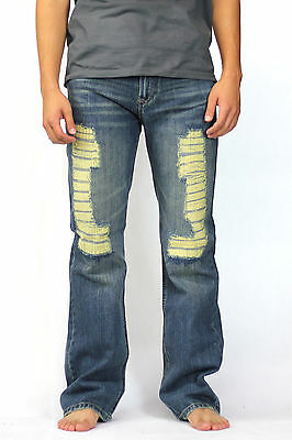Men's Distressed Torn Jeans 34 36 38 40 Faded Blue Regular Straight Relaxed