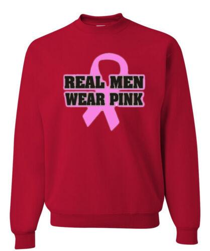 Real Men Wear Pink Crewneck Sweatshirt Breast Cancer Awareness Pink Ribbon Hope