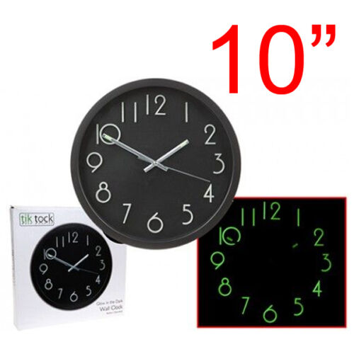 10-034-GLOW-IN-THE-DARK-WALL-CLOCK-HANGING-BEDROOM-HOME-OFFICE-QUARTZ-ROUND-NEW