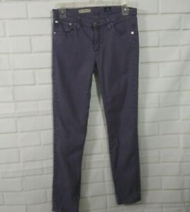 AG-Adriano-Goldschmied-27R-Jeans-The-Stevie-Ankle-Purple-Slim-Straight-Skinny