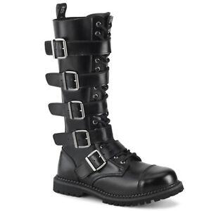 DEMONIA-Riot-18BK-18-Eyelet-Unisex-Steel-Toe-Knee-Boot-Closed-Toe-Knee-High-Boot