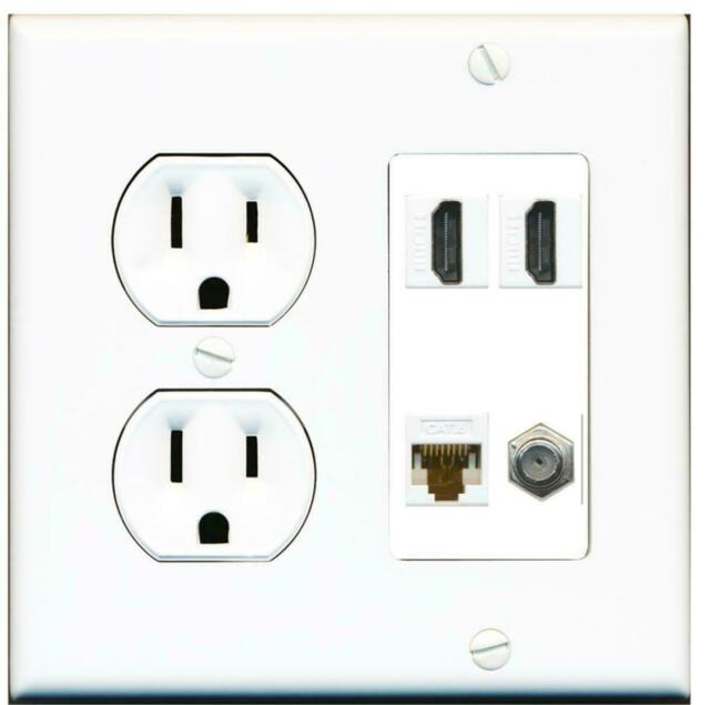 4K HDMI RJ45 Cat6 Ethernet Wall Plate Female to Female for HDTV HDMI and Ethernet Wall Plate