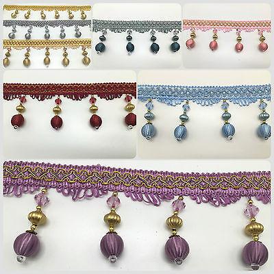 Ospitale Grande Fiocco Incrociato Con Perline Di Frange Trim Per Tenda Carft Lavoro, 8 Colori Disponibile-
