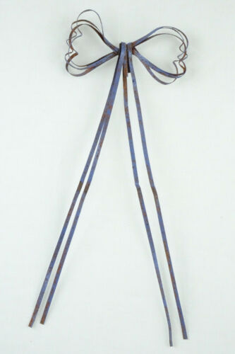 """3/"""" wide w// 8/"""" streamers crafts 2pc Green or Blue -Primitive Rusty Tin BOWS"""