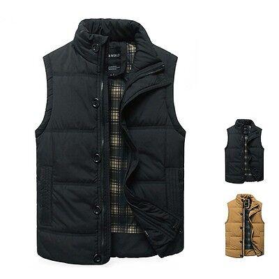 Men's Cotton Waistcoat Standup Vest Jacket Sleeveless Tops Warm Winter Outwear
