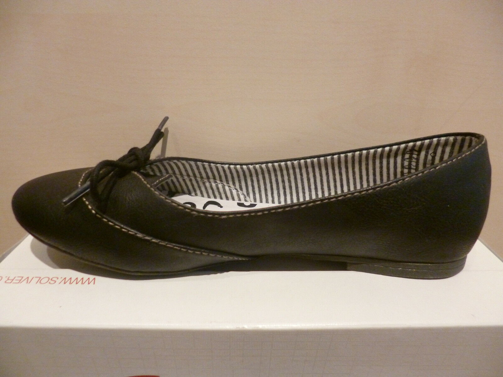 S.Oliver Bailarina Zapatos Zapatilla bajo Zapatos Bailarina Tacones Negros 8d664d