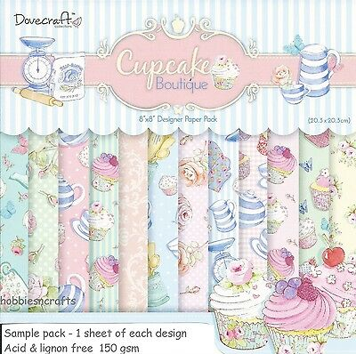 DOVECRAFT CUPCAKE BOUTIQUE PAPIER 8 X 8 MUSTER PACKUNG JE 1 DESIGN - 12 BLÄTTER