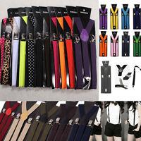 Adjust Pants Y-back Clip-on Chic Suspender Brace Elastic Lady Men Unisex Plain