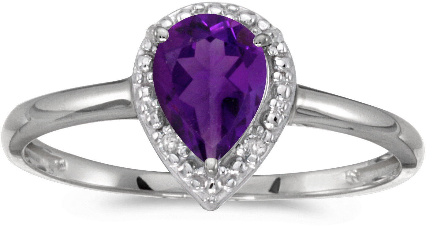 10k White gold Pear Amethyst And Diamond Ring (CM-RM2616W-02)