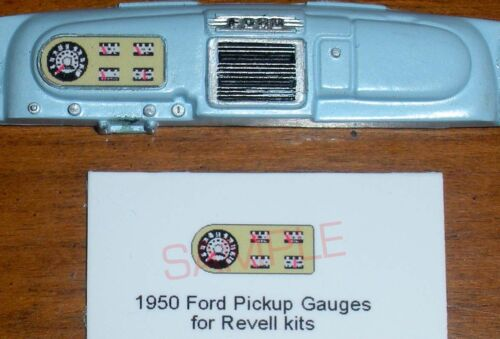 1950 FORD F-1 PICKUP TRUCK GAUGE FACES for 1//25 scale REVELL KITS