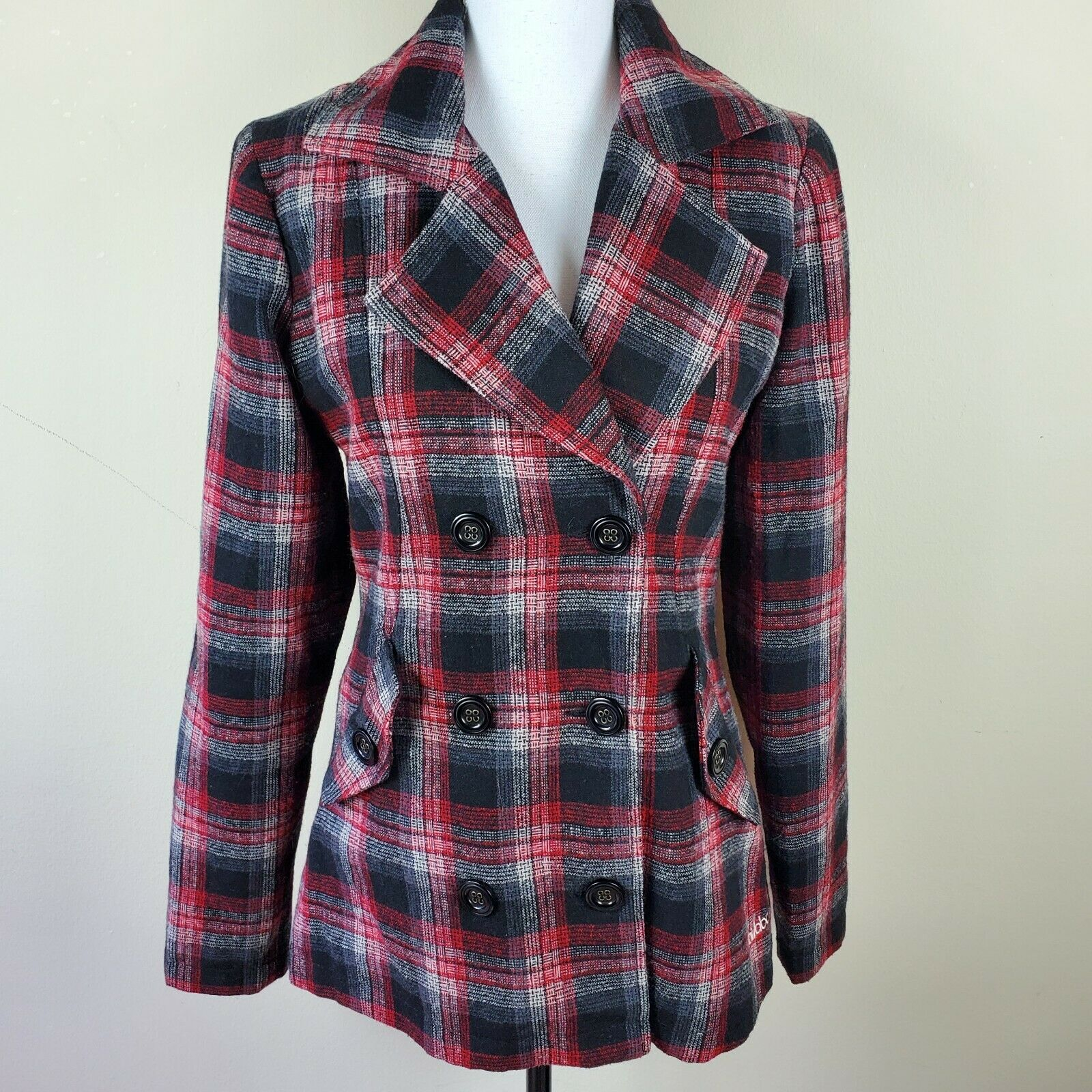 BILLABONG Red Black Wool Blend Plaid Jacket Coat Women's Size L