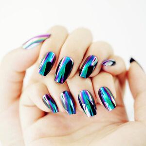 24Pcs Stiletto Acrylic Nails Tip Mirror Nail Chrome Magic Powder 3d ...