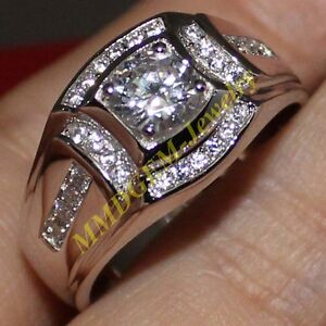 Image Is Loading Nice Mens 925 Silver 2ct White Shire Engagement